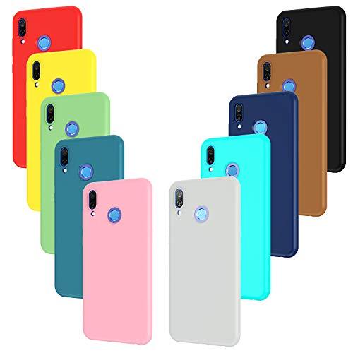 ivoler 10 x Funda para Huawei Honor Play, Ultra Fina Carcasa Silicona TPU Protector Flexible Funda (Negro, Gris, Azul Oscuro, Azul Cielo, Azul, Verde, Rosa, Rojo, Amarillo, Marrón)