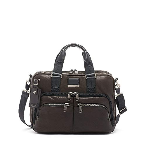 TUMI - Alpha Bravo Albany Leather Laptop Slim Commuter Briefcase - 14 Inch Computer Bag for Men and Women - Dark Brown