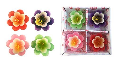 T-shin Velas flotantes, sin perfume, pétalos de loto, velas de cera vertidas a mano para bodas, aniversarios, cumpleaños, decoración del hogar, spa, relajación, paquete de 4