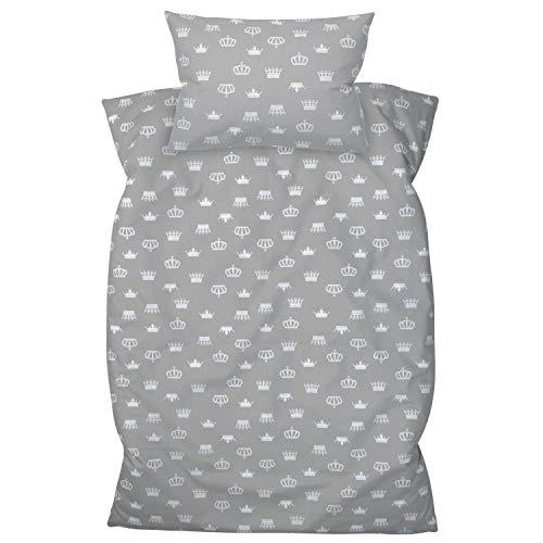 Amilian Kinderbettwäsche 2-teilig 100% Baumwolle Kinder Bettwäsche Babybettwäsche für Baby Bettbezug 100 x 135 cm, Kopfkissenbezug 40 x 60 cm, mit Hotelverschluß Krone grau