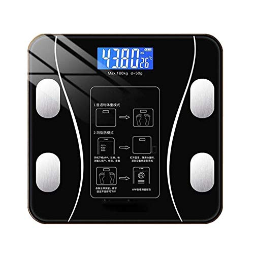 Digitale weegschaal, Bluetooth Body Fat Scale, lichaamsvet en Vocht Test Weegschaal, Solar Light Charging (Classic Black)