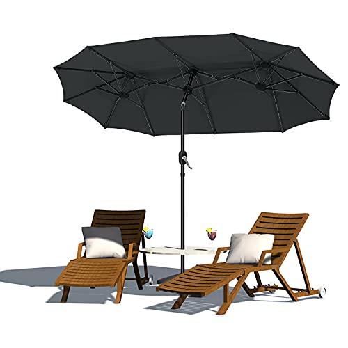 NAIZY Aluminium Doppelsonnenschirm mit Handkurbel, Sonnenschirm Gartenschirm Marktschirm Terrassenschirm mit UV50+ ca. 155 x 300 cm - Dunkelgrau, Winkelverstellbar