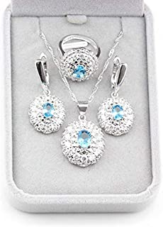 TAFAE Bridal Jewelry Sets - Elegant Women Jewelry Sets 925 Sterling Silver Champagne Cubic Zirconia 9-Color Earrings/Pendant/Necklace/Ring Trendy Accessorie 1 PCs