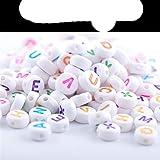 200 cuentas hechas a mano redondas, cuadradas, con forma de corazón, acrílicas con letras del alfabeto inglés al azar, pulsera de regalo
