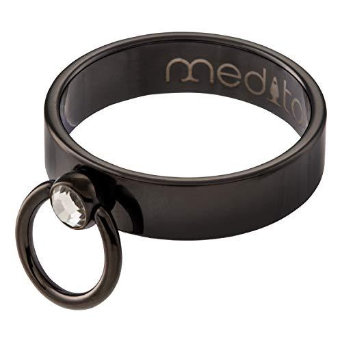 meditoys® - 'Anillo de O' - con cristal original de Swarovski (PVD negro)