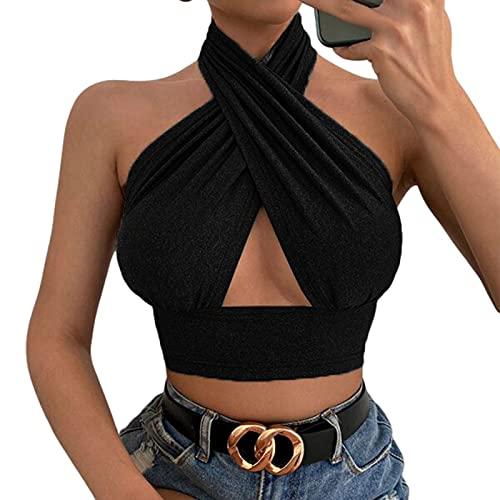 Chaleco Sexy de Color sólido Retro para Mujer de los 90, Top con Cuello Halter y Corte Cruzado Estilo Y2K (Negra, S)