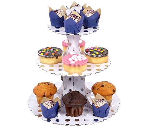 Alsino 3 Etagen Turm Cupcake Party Tortenständer Kuchenständer Ständer Deko Etagenständer Buffet stufig stöckig, Muster wählen:Silber Punkte