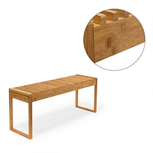 Relaxdays Sitzbank Bambus HxBxT: ca. 47 x 120 x 33 cm stabile und geräumige Gartenbank auch als Dielenbank mit Platz für 3-4 Personen aus Bambus für die Terrasse, den Balkon und die Wohnung, natur - 5