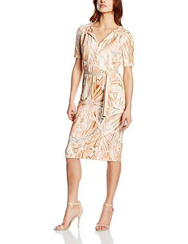 Basler Women's Coral Jersey Dress with Ribbon, Multicoloured (Orange Multi), 8 (Size:34)