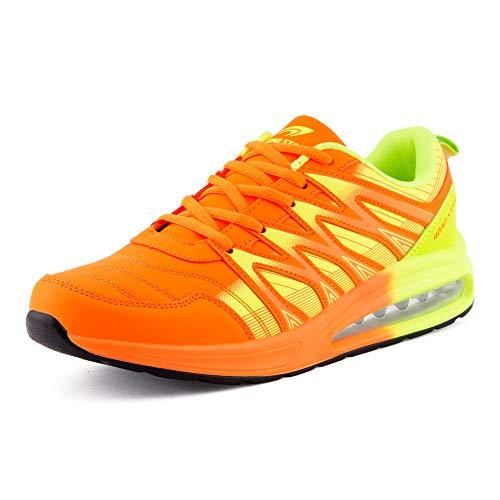 Fusskleidung Herren Damen Sportschuhe Sneaker Dämpfung Laufschuhe Übergröße Neon Jogging Gym Unisex Orange Grün EU 45