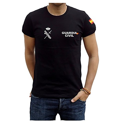 Camiseta Guardia Civil Bandera (L, Negro)