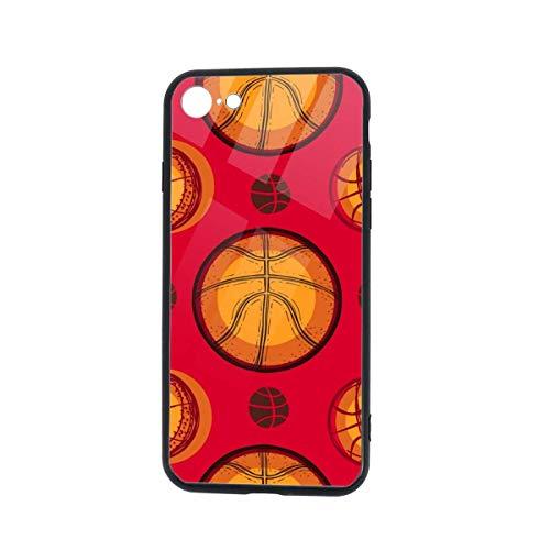 Gustave Tomlinson Baloncesto Sport Sketch Pattern Compatible para iPhone 7/8 Mobile Shell Funda con Tapa Trasera Cell Fashion TPU Marco de Vidrio Templado
