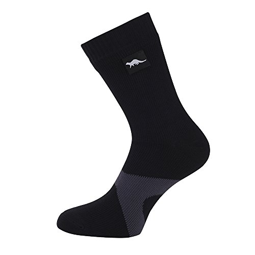 Waterproof socks for men & women, Breathable, windproof socks for all climates (L (9.5-12), Black & Grey)