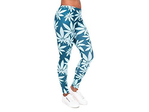 Alsino Leggings Gym Leggins für Damen - One Size Einheitsgröße - All-Over-Print Motive, Marihuana Blau (LEG-146)