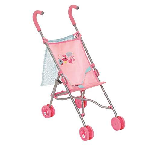 Zapf Creation 825792 BABY born Stroller mit Bag Puppenbuggy mit Gurtsystem und Transportnetz und Tasche, zusammenklappbar, Puppenzubehör 43 cm, rosa