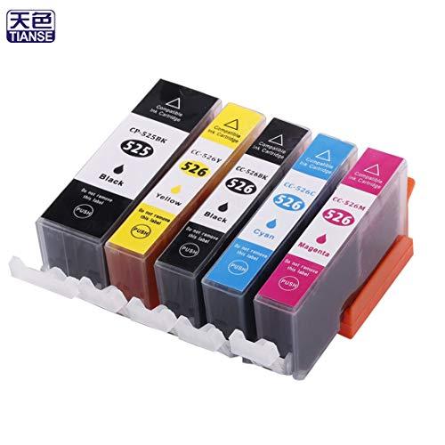 SKYYKS Cartucho de Tinta TIANSE de 5 Piezas Compatible con MG5150 / MG5250 / MG8150 / MG6150 / IX6550 / MX885 / IP4850 Impresora no OEM remanufacturada