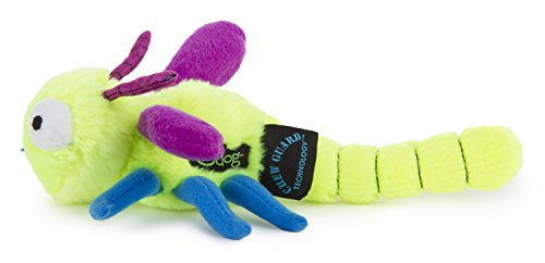 goDog Bugs Dragonfly Plush Dog Toy with Chew Guard, Lime, Small