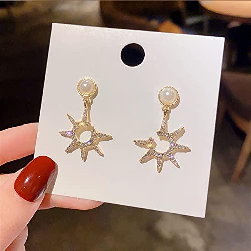 Pendientes para mujeres Star Star Moon Pendientes asimétricos de alta sensación Evitan la alergia. $158 (Metal Color : Antique Bronze Plated)