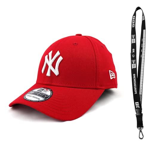 New Era 3930 Caps – Caps con Flex en diferentes tamaños – Gorra de la NFL para el verdadero fan del fútbol – Incluye llavero League Basic New York Yankees - Escarlata Large/X-Large