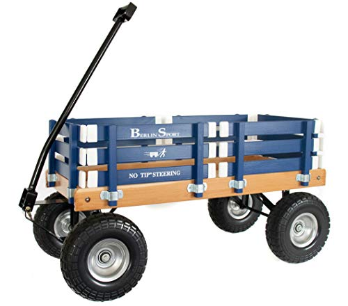 """Berlin Flyer Sport Wagon - Model F410 - Amish Made in Ohio, USA - 10"""" No-Flat Tires (Blue)"""