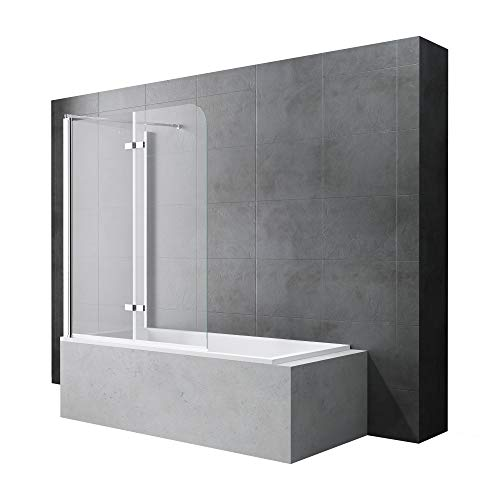 Sogood Badewannenfaltwand Cortona113, Wandanschlag links, in Klarglas inkl. Nano-Versiegelung, BTH: 70x120x140cm 6mm ESG-Glas