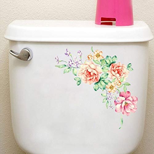 Pegatinas de pared de flores de peonía arte decoración del hogar Pvc calcomanías de vinilo extraíbles para pared para niños decoración de nevera de baño de sala de estar