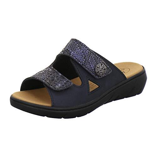AFS-Schuhe 27832 Damen Pantoletten Hallux aus Leder mit Wechselfussbett, Bequeme Hausschuhe für Frauen mit Klettverschluss (39 EU, Navy/Sky reptil)