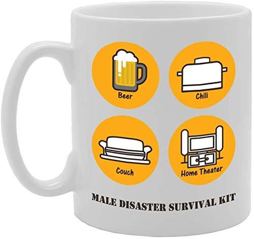 207 Male Disaster Survival Kit Novelty Gift Printed Tea Coffee Ceramic Mug