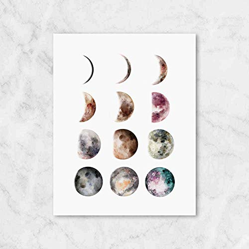 Moon Phase Print, Moon Prints, Wall Art, Watercolor Print, Moon Phases, Home Wall Decor, Modern Print, Moon Poster, Gift Idea, UNFRAMED, 8x10 inch