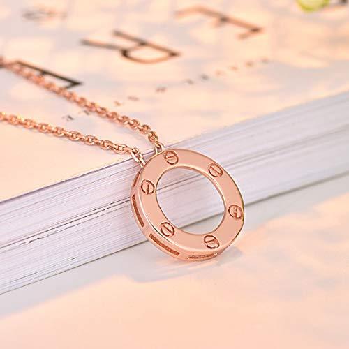 SUIWO Collar de Las Muchachas de la joyería Collar de Cadena Pendiente del Collar de Las Mujeres del Cuello de la Cadena señoras de Las Mujeres del Diamante Señora Love Collar de Oro Rosa