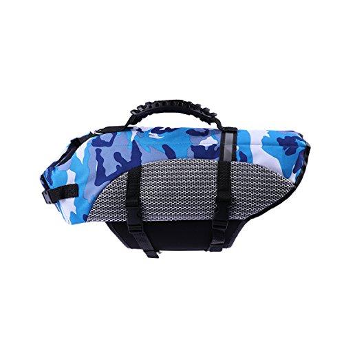 POPETPOP Hund Schwimmweste Haustier Schwimmweste Saver Badeanzug für Pool Strand Bootfahren Wasser Sicherheit Größe S (Blau)