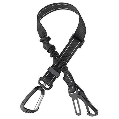 Dog Seat Belt, Upgrade 3-in-1 Adjustable Pet Safety Belt with Heavy Duty Hardware and Swivel Aluminum Carabiner, Buffer Strip to keep Cat & Dog Secure. Vehicle Seat Belt for Small Medium Large Dogs