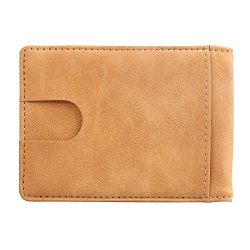 Blocking Leather Money Clip Pocket Wallet Business Credit Card Case Holder Cover (Color : Yellow)