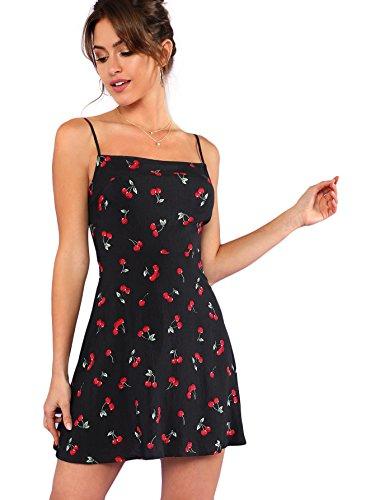Floerns Women's Summer Floral Cherry Print A Line Short Cami Dress Black XL