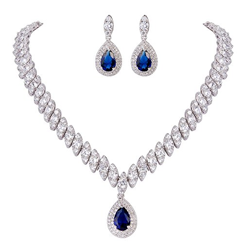 EVER FAITH Women's CZ Marquise-Shaped Leaf Teardrop Pendant Necklace Earrings Set Red Silver-Tone