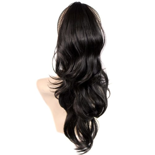 NOUVEAU Clip Extension de cheveux Queue de Cheval Cheveux Longue et Ondulée Marron Foncé Barrettes