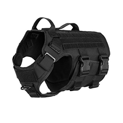 ICEFANG GN5 Lightweighting Tactical Dog Harness with 2X Handle,Dog Walking Training MOLLE Vest ,Hook and Loop Panels ,2X Leash Clip (L (Neck:18'-24' ; Chest:28'-35' ), Black)