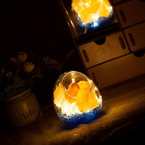Natural Himalaya lámpara de sal libera ion negativo purificador de aire natural Himalaya cristal roca sal de la noche luces de noche con atenuador (aspecto de cáscara de huevo)