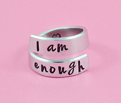 I am enough - Hand Stamped Aluminum Spiral Wrap Twist Ring, Inspirational Motivational Ring, I Am Strong, Be You, Friends BFF Sorority Sisters Besties Encouragement Gift, Graduation Gift