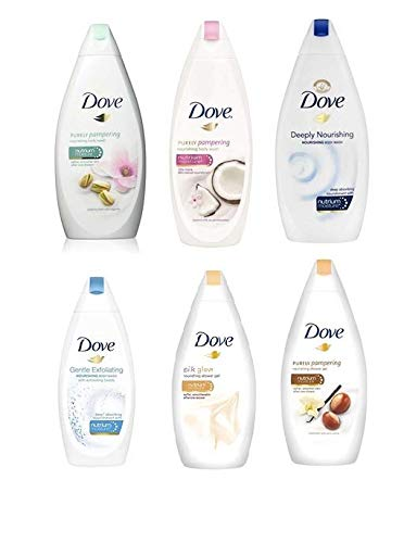 Dove Body Wash Variety 6 Pack - Shea Butter, Deep Moisture, Pistachio Cream, Coconut Milk, Gentle Exfoliating and Silk Glow, 16.9oz Each International Version