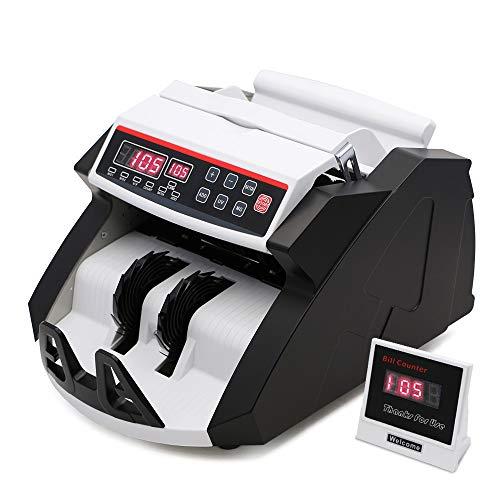 UFLIZOGH Contador de Billetes Totalizador Falsos Automático Maquina de Detector de Monedas múltiples UV MG con Sistem Pantalla LED para Tiendas y Bancos