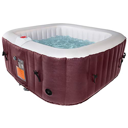 AquaSpa #WEJOY Portable Hot Tub 61X61X26 Inch Air Jet Spa 2-3 Person Inflatable Square Outdoor Heated Hot Tub Spa with 120 Bubble Jets, Wine, one Size (PM_SPA-P154_Wine)