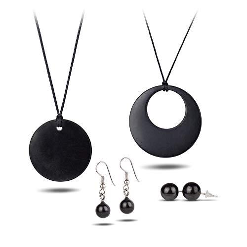 Shungite sieradenset voor EMF-bescherming, gemaakt van Shungite Stones | Deze trendy sieradencadeauset bevat oorbellen, oorbellen, kleine bollen, kleine cirkel, dubbele cirkel