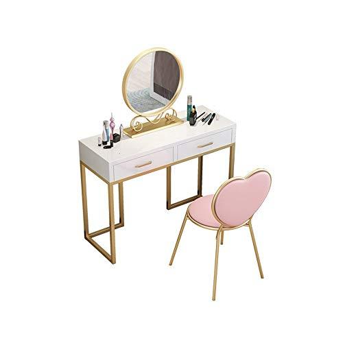Ouuager-Home Schminktische Frisierkommode Schmiedeeisen Einfach Zimmer Multifunktionales Make-up Tisch und Stuhl (Color : 1, Size : 80x40cm)