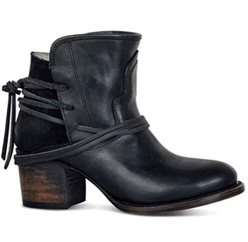 Weinlese-Frauen-Absatz-Stiefeletten Buckle Rubber beiläufige Damen Schuhe Martin Stiefel Starke Ferse Cowboystiefel Weibliche Knöchel Slip-On Stiefel,Schwarz,42