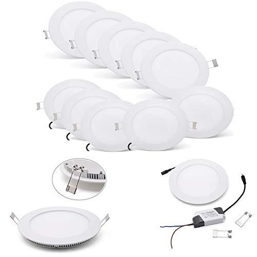 [10 Stück]Ultraslim Runde LED Panel Einbaustrahler Lampe Deckenleuchte Spot (9W Warmweiß)