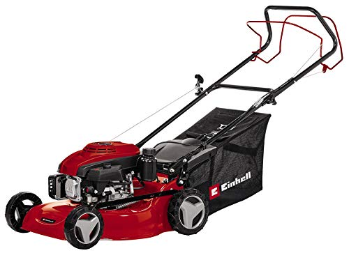 Einhell Petrol Lawn Mower GC-PM 46 S (1.9 Kw, Up to 1.400 m², 4-Stroke Engine with 1 Cylinder, Disengageable Rear-Wheel Drive, 9-Level Central Cutting Height Adjustment 30-80mm)