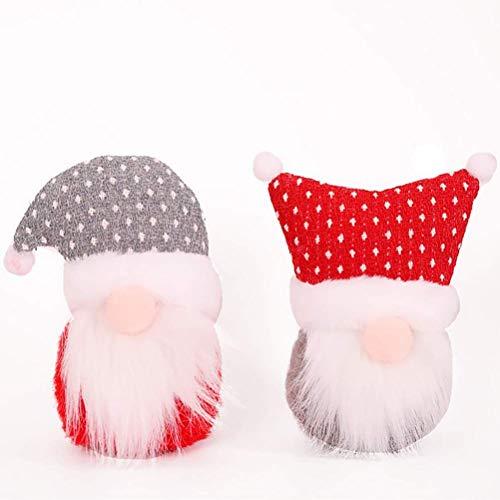 FENGLI 2 unids Navidad sin Rostro de Peluche de Peluche de Peluche Elfo de Juguete Mesa de Navidad Adornos de Navidad Decoraciones navideñas
