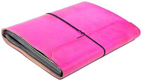 indiary - Fotoalbum aus echtem Büffel-Leder und handgeschöpftem Papier 34x26cm - schlicht und edel - Pink