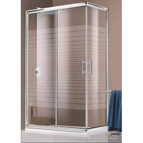 Box Doccia 80x120x190 cm in cristallo trasparente serigrafato da 6 mm ante scorrevoli apertura angolare con chiusura a calamita